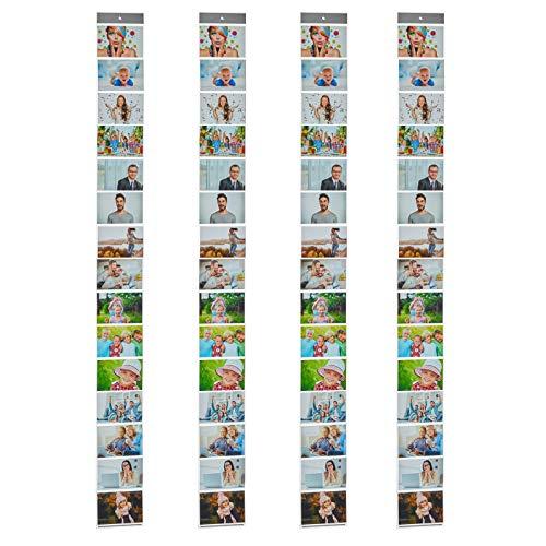 HAC24 4er Set Fotovorhang mit 15 Fototaschen 10x15cm für Bilder im Querformat Fotohalter Bildervorhang Bilderhalter Foto Vorhang