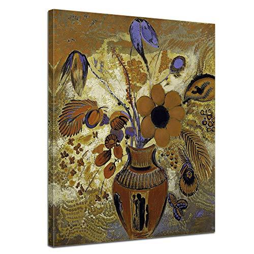 Leinwandbild Odilon Redon Etruskische Vase mit Blumen - 60x80cm hochkant - Wandbild Alte Meister Kunstdruck Bild auf Leinwand Berühmte Gemälde