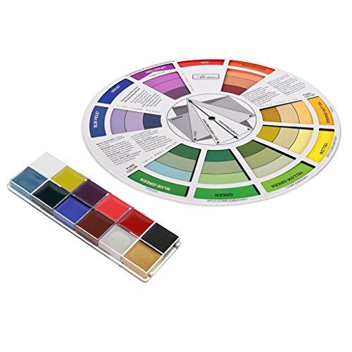 F Fityle Cara Pintura Corporal Pintura Al leo Arte Maquillaje Fiesta de Navidad con Carta de Colores