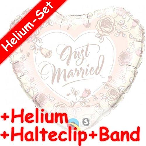 Folienballon in Herz-Form mit dem Motiv * JUST MARRIED * + HELIUM FÜLLUNG + HALTE CLIP + BAND für die Hochzeit // Folien Ballon Deko Ballongas Geburtstag Hochzeitstag Geschenk Liebe Marriage gold