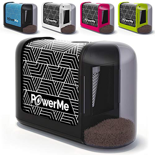 POWERME Electric Pencil Sharpener - Pencil Sharpener Battery Powered for Kids, School, Home, Office, Classroom, Artists – Battery Operated Pencil Sharpener For Colored Pencils, Ideal For No. 2 (Black)