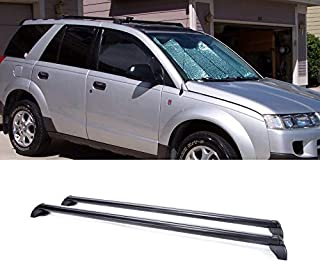XXHY 2pcs Black Aircraft Aluminum fit 2002-2007 Saturn Vue with Black Side Rails Only Aftermarket Roof Rack Cross Bars + Brackets + Mounting Hardwares