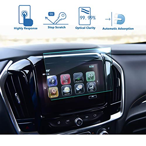 LFOTPP Fits for 2018 2019 2020 Chevrolet Traverse 8-Inch MyLink Car Navigation Screen Protector, Tempered Glass 9H Hardness Car Infotainment Display Center Touch Protective Film Scratch-Resistant