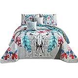 Western Peak Bull Skull Native Tribal Feather Artisan Southwestern Boho Design Quilt Bedding Set with Pillows (5 Piece Set, King)