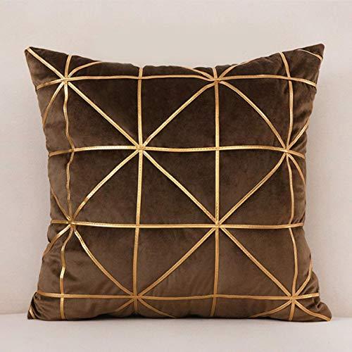Miwaimao Juego de almohada nórdica de terciopelo con estampado en caliente, 45 x 45 cm, color marrón