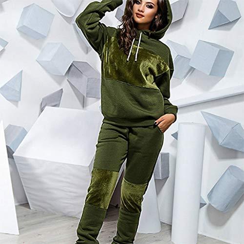 SCDZS Conjunto de chándal para mujer con capucha y pantalones de invierno cálido (color: B, talla: XXL)
