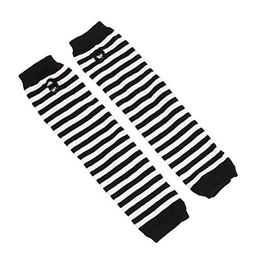 Guantes Mitones de Juego de rol Hombres y Mujeres Moda protección Solar puños Calientes-Black and White-One Size