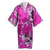FEESHOW Mädchen Japanischen Stil Kimono Satin Blumen/Reine Farbe Robe Kinder Bademantel Morgenmantel Lang Nachtwäsche Kleid mit Gürtel Rosenrot 146-164/11-14 Jahre