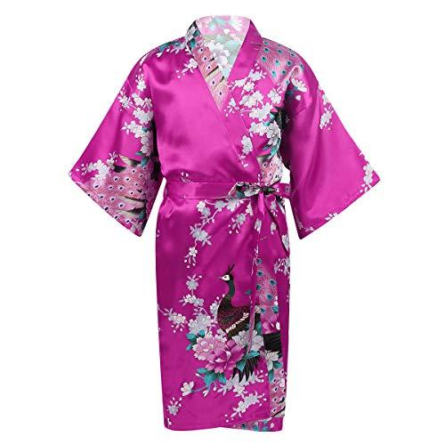 Agoky Bata de Satén para Niña Albornoces Estampado de Pavo Real Flores Kimono de Dormir Ropa de Noche Verano para SPA Sleepwear Rosa Roja 7-9 años