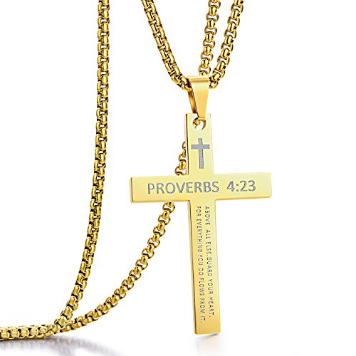 Stainless Steel Cross Pendant Necklaces for Boys Men or Women Bible Verse Pendant Chain 24 Inch Gold