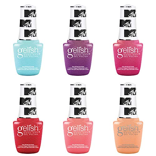 Gelish Summer MTV Switch On Color Collection 9 mL Soak Off Gel Nail Polish Set, 6 Color Pack with Electric Remix, Ultimate Mixtape, Live Out Loud, Total Request Red, Show Up & Glow Up, and Super Fandom
