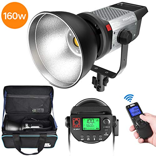 LED Videolicht, Pixel 160W 5600K Tageslicht COB LED Video Leuchte, mit Adapter, Fernbedienung und Tragetasche Video Light für YouTube Studio Video Porträt Fotografie Beleuchtung
