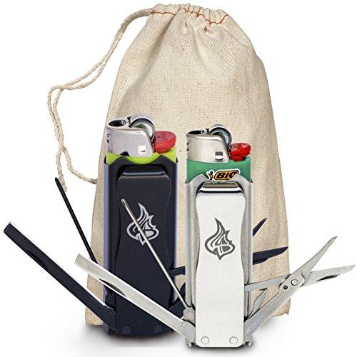 Multitool Lighter Sleeve 2-pack Bundle Black Stainless Steel Stealth + Icon Silver Lighter Sleeve Gift Set