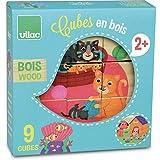 Vilac - 2406 - 9 Cubes En Bois Animaux 1 + , modèle aléatoire