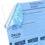 MIFFLIN Clear Plastic Sheet (24x36 inch, 2 Pack), PET is Similar to Plexiglass & Acrylic, Perfect as a Replacement for Poster Frame Glass, for General Purpose Household Use, Easy to Cut to Any Size