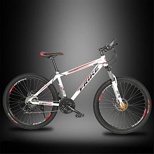 JHKGY Bicicleta De Montaña para Jóvenes/Adultos,Bicicleta De Montaña De Doble Suspensión,Freno De Disco Doble, Marco De Aluminio,Ruedas De 26 Pulgadas Bicicleta De Montaña De 27 Velocidades,Blanco
