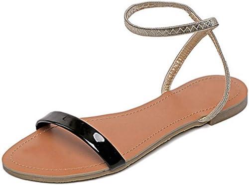 Sandales, Une Boucle, Fond Plat pour Femmes, Chaussures pour Femmes Sauvages, Bout rond-noir-37