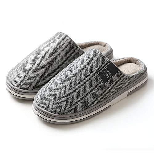 Cómodas Pantuflas de Algodón,Ultraligero Antideslizante Pantuflas,Zapatillas de casa de algodón, zapatillas antideslizantes de suela gruesa-gris claro _47