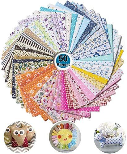 WolinTek 50 piezas 25 cm x 25 cm tela de algodón paquete,tela de Algodón y lino utilizada para patchwork DIY,manualidades, álbumes de recortes y manualidades (50PCS)