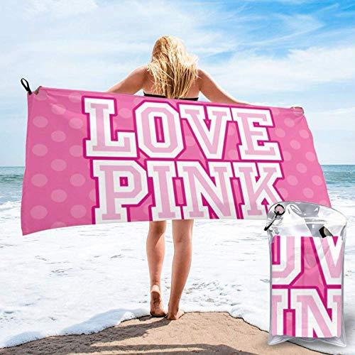 Toallas de Playa Toallas de baño compactas portátiles de Microfibra sin Arena, Love Pink Original Quick Dry Manta de Toalla súper Liviana para Acampar