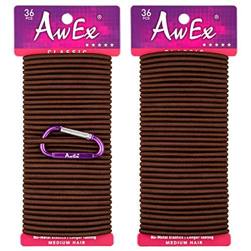 AwEx Braun Haargummis, 72 Stück, 4 mm (0,16 Zoll) dick, 140 mm (5,5 Zoll) Lange Haargummibänder, Keine Metallhaarbinder, Keine Pull-Pferdeschwanzhalter