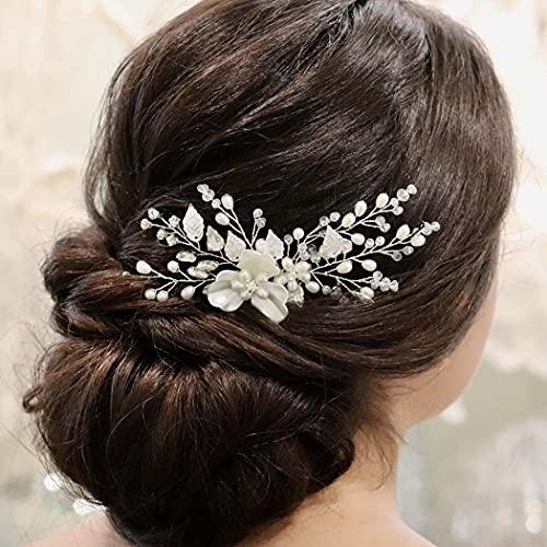 Ushiny Blume Hochzeit Haar Kämme Kristall Braut Kopfschmuck Perle Haarschmuck für Frauen und Mädchen (Silber)
