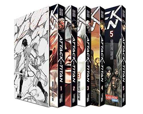 Produktbild von Attack on Titan, Bände 1-5 im Sammelschuber mit Extra: Atemberaubende Fantasy-Action im Kampf gegen grauenhafte Titanen
