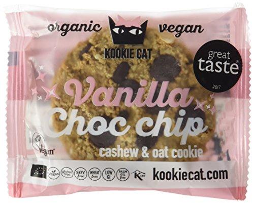 Kookie Cat Vanilla and choc chip, Organic vegan cachew / oat cookie, 12er Pack (12 x 50g)