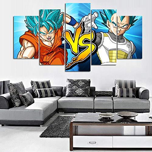 CGHBDOP Wohnkultur Kunst 5 Teiliges Moderne Leinwand Wandbilder Vlies Bild Auf Modulare Wanddeko Wohnzimmer Dragon Goku Gegen Vegeta Blue DBZ Fighter