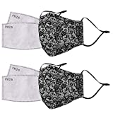 kensie Women's 2-Piece Face Mask Set, Black Lace, Standard