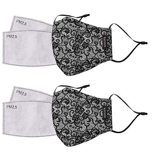 kensie Women's 2-Piece Face Mask Set, Black Lace, Standard