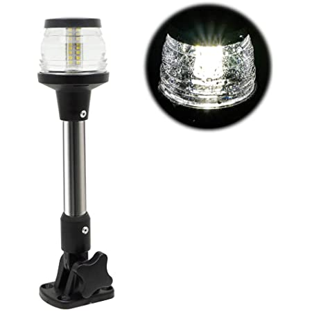 HELLA 995002021 2010 Series White 12V DC 2 NM All-Round Anchor Light with 8 Black Fold Down Pole Mount Base