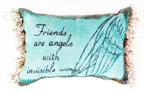 Manual 12.5 x 8.5-Inch Decorative Embroidered Word Pillow with Fringe, Friends are Angels