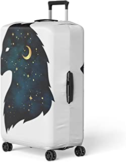 Pinbeam Luggage Cover Silhouette of Wolf Crescent Moon and Stars Tattoo Travel Suitcase Cover Protector Baggage Case Fits 22-24 inches