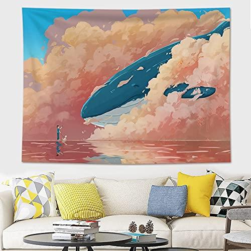 KHKJ Decoración para el hogar Impresión de Ballenas Tapices para Colgar en la Pared Estera de Yoga Manta Decoración de habitación estética Decoración Mural Decoración de habitación Linda A8 95x73cm