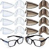 8 Paia Laterali Occhiali Sicurezza Protezioni Laterali Trasparente Slittamento Scudo Antiscivolo Adatto Occhiali Piccoli Medi Aggiunta Maggiore Protezione Sicurezza (Trasparente e Nero)