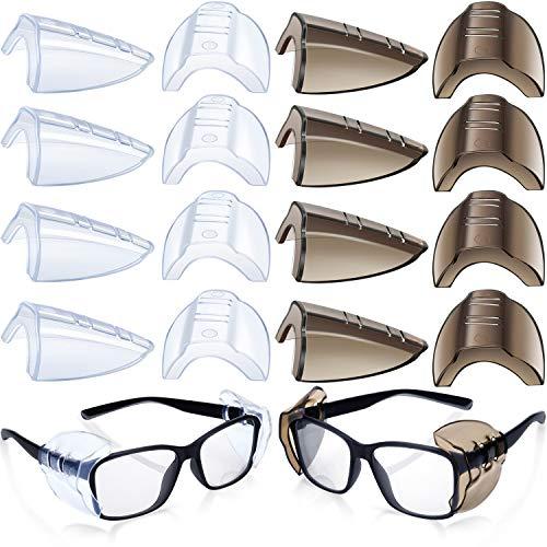 8 Pares Protectores Antideslizantes Laterales de Gafas de Seguridad Protector Transparente Se Adapta a Anteojos Medianos Pequeños Agregue Más Protección a Gafas Seguridad (Transparente y Negro)