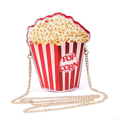 LUI SUI Women Novelty Popcorn Hamburger Purse Cute Fruit Shape PU Handbag Shoulder Bag Crossbody Bag Clutch Purse