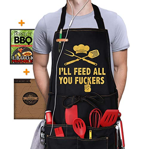 Grill Aprons I'll Feed All You- Deluxe Men BBQ Kitchen 5Pocket 100% Cotton