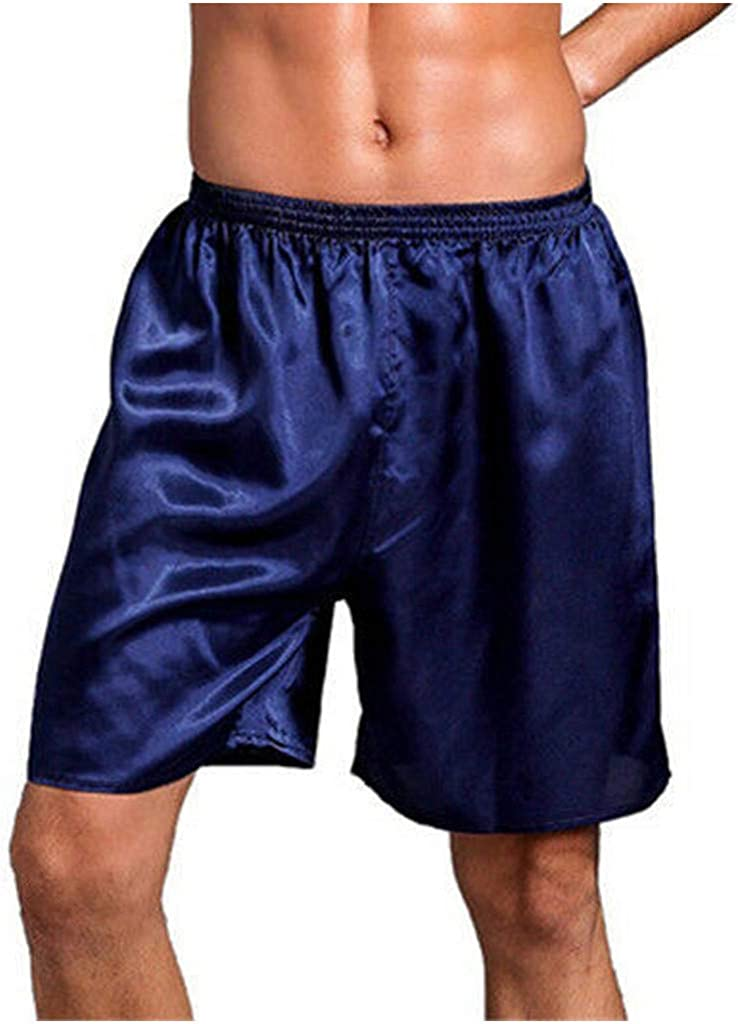 iHHAPY Mens Shorts Sleep Pants Home Shorts Breathable Satin Shorts Elatic Waist Super Soft Pajama Shorts Lightweight