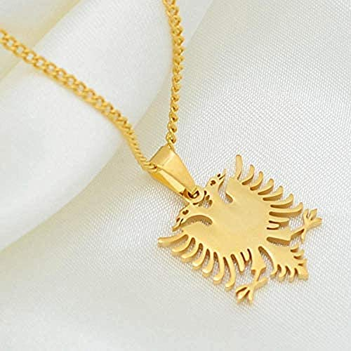 N/J Albanian Eagle Small Size Pendant Necklace Gold and Stainless Steel Jewelry Suitable for Ethnic Gifts for Women and Children