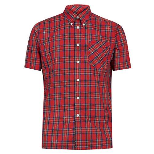 Merc Herren Freizeit-Hemd Rot Red Navy & Green Gr. M, Rot - Red Navy & Green