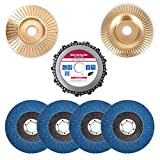 Angle Grinder Carving Disc Accessories Attachment 7-Piece Set, for 4-1/2' Angle Grinder, Including Chain Disc, Wood Shaping Grinding Disc, Flap Disc Sanding Wheels for Woodworking Carpenter
