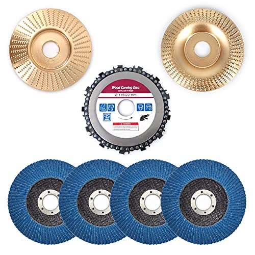 Angle Grinder Carving Disc Accessories Attachment 7-Piece Set, for 4-1/2