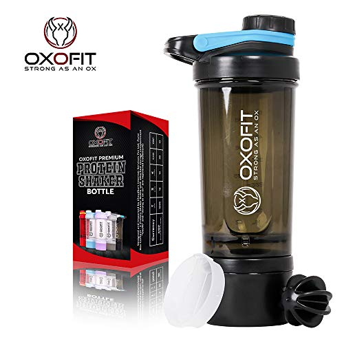 OxOFit - Strong as an Ox BPA-Free Leakproof Gym Smart Shaker Water Bottle with 2 Compartments, Carrying Loop and Stainless Steel Shaker Ball (500 ml, Black)