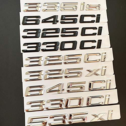 SYSFOUR Número de Letra del ABS 325Ci 330Ci 645Ci 325xi 528xi 335ix Emblema para BMW E46 E90 E91 E92 Etiqueta engomada del Maletero del automóvil Deportivo Roadster Coupe, Cromo Plateado, 325xi