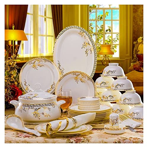 CCAN Juego de vajilla de cerámica de 56 Uds, Vajilla de Porcelana de Hueso, Platos, Platos Combinados de cerámica, Juego de Servicio de Cena, Juego de Comedor, Porcelana Interesting Life