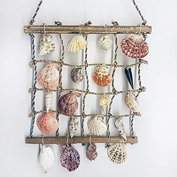 Natural Handmade Collectible Nautical Sea Shell Pearl Bamboo Home Garden Decorative Wall Hanging Macrame Ornament Craft Gift