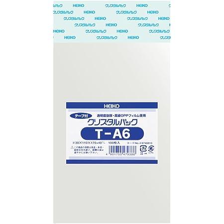 シモジマ ヘイコー 透明 OPP袋 クリスタルパック テープ付 A6 100枚 T-A6