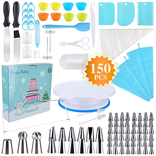 Cake Decorating Supplies Kit for Beginners, Set of 150, Baking Pastry Tools, 1 Cake Turntable Stand,48 Icing Piping Tips,3 Russian Ball Piping Nozzles, Large Cupcake Decorating Kit,Muffin Cup Molds
